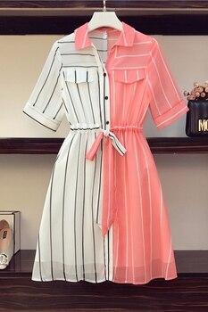 COIGARSAM 4XL Plus Size Chiffon Women dress New Summer Short Sleeve Dresses Red 8004 6