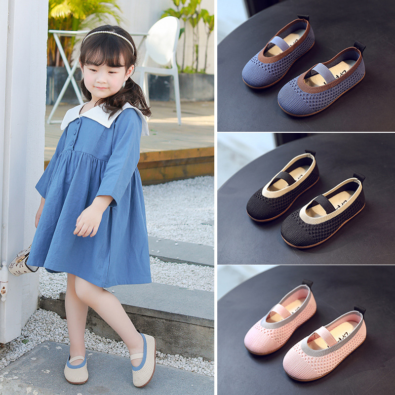 2020 Breathable Knitted Fabric Children Shoes Soft Ballet Dancer Shoes Baby Toddler Infannt Girl Casual Shoes Comfortable C12283