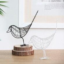 Figuritas de pájaros simples creativas de hierro hueco decoración de mesa de Metal Vintage Animal manualidades de pájaros hogar boda foto de decoración regalos Prop