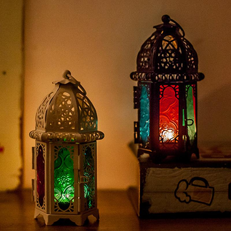 Vintage Candlesticks Moroccan Lantern Metal Hollow Candle Holder Color Glass Crystal Hanging Iron Ever Party Wedding Decor(China)