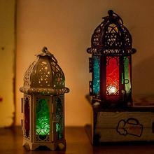Candelabros Vintage farol marroquí Metal hueco portavelas Color cristal colgante hierro siempre fiesta decoración de la boda
