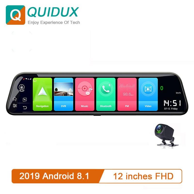 Автомобильный видеорегистратор ADAS, 12 дюймов, 4G, Android 8,1, 2 Гб + 32 ГБ, зеркало заднего вида с GPS навигацией, 1080P + 1080P, видеорегистратор, Wi Fi, парково