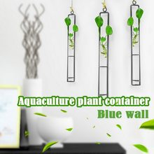 Creative Wall Hanging Flower Vase Iron Glass Hydroponics Planter Pot Transparent Flower Bottle Home Ornament Decoration Top(China)