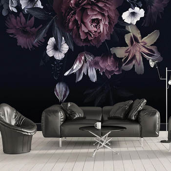 Custom Photo Wallpaper Modern 3D Rose Lily Flowers Mural Living Room Bedroom Black Background Wall Painting Papel De Parede 3 D beibehang papel de parede 3d photo wallpaper romantic painting pink rose flower romantic living room bedroom mural wall paper