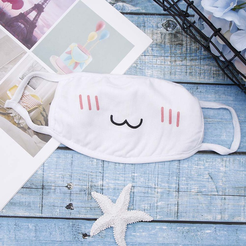 1PC White Mask Winter Mouth Face Text Mask Cute Facial Expression Text Mask