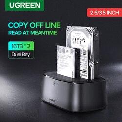 Ugreen HDD Docking Station SATA Ke USB 3.0 Adaptor untuk 2.5 3.5 SSD Disk Case HD Kotak Dock Hard Drive kandang Docking Station