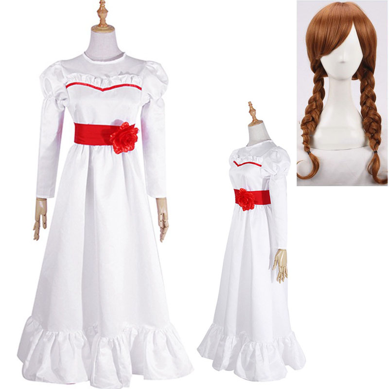 Ghost Doll Annabelle Halloween Cosplay Costume Annabell Costume White Long Dress Cosplay Wig Halloween Costume Wigs + Wig Cap