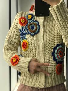 Cardigan Chain Link-Fence-Collar Poncho Temperament Embroidered Female Women's New Feminino