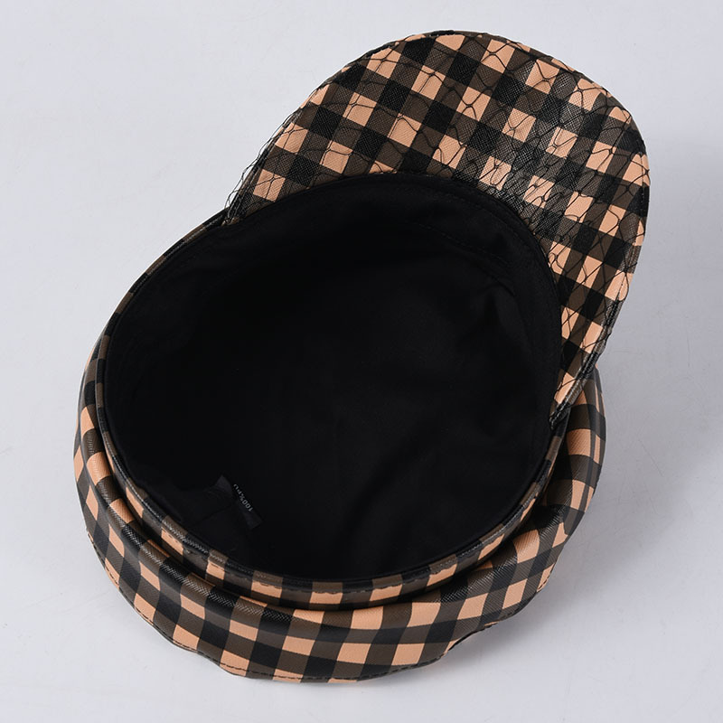 USPOP 2019 New Caps women plaid newsboy caps vintage plaid PU visor caps couple flat top military caps in Women 39 s Newsboy Caps from Apparel Accessories