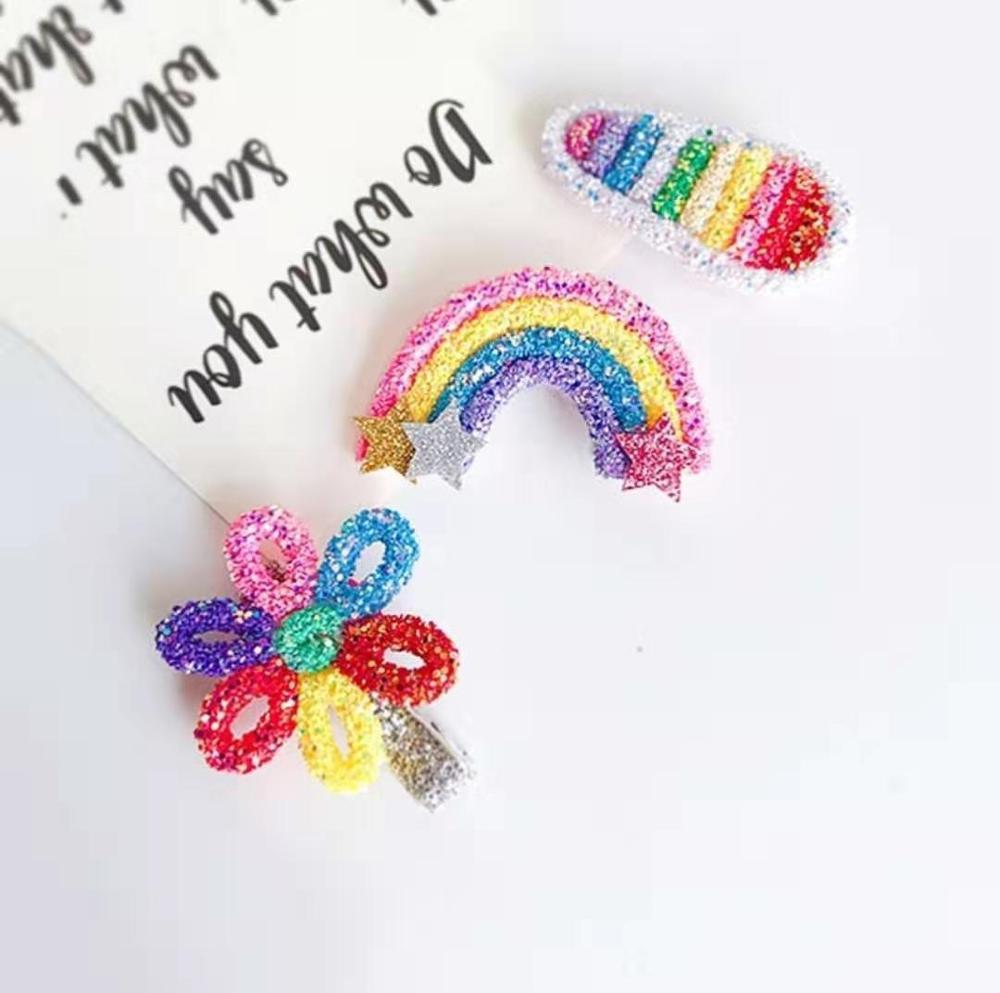 Thumblina Rainbow Flower Hair Clips Sparkly Glitter Hair Bows for Women Girls Hairpin Children Kids Barrettes