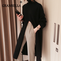 Winter New Loose high Collar Long Dress Sweater Slit Long Sleeve Cotton Casual Dresses Female Solid Color Turtleneck