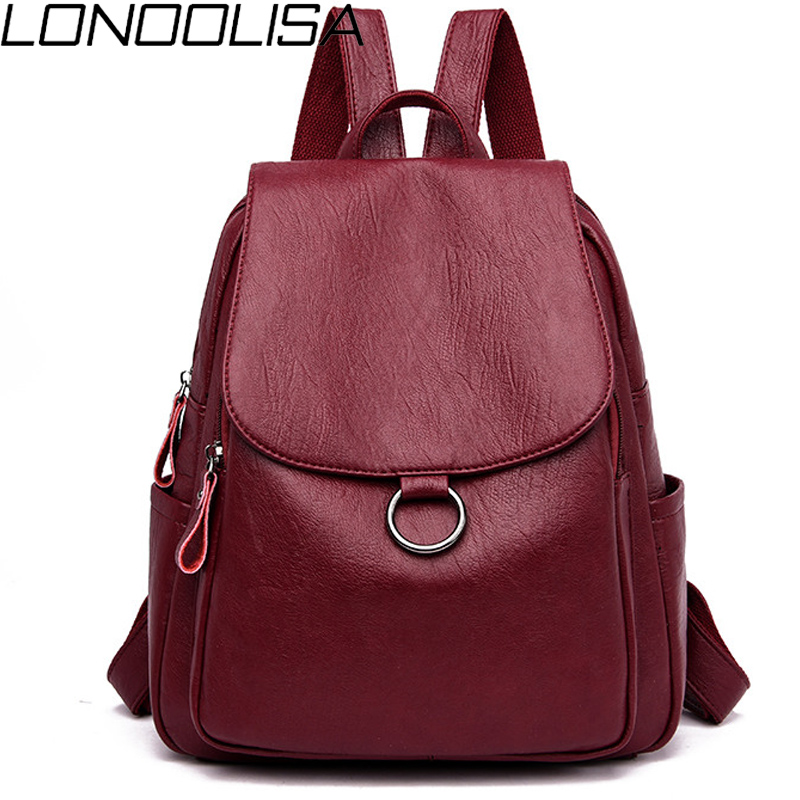 LONOOLISA Japan Style Women Leather Backpack 2019 Female Bagpack Ladies Travel Back Pack School Bags For Teenage Girls Sac A Dos
