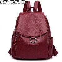LONOOLISA Japan Style Women Leather Backpack 2019 Female Bagpack Ladies Travel Back Pack School Bags For Teenage Girls Sac A Dos