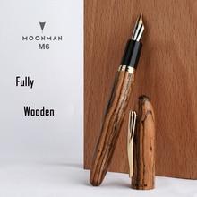 חדש מונמן M6 טבעי עץ מזרקת עט בעבודת יד מלא עץ יפה עט אירידיום בסדר 0.5mm אופנה כתיבה דיו עט מתנה עט