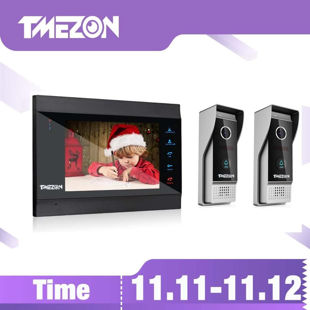 TMEZON 7 Zoll Wireless / WIFI Intelligente IP-Video-Türklingel-Gegensprechanlage mit 1 Nachtsichtmonitor + 2 regensicheren Türsprechanlagen