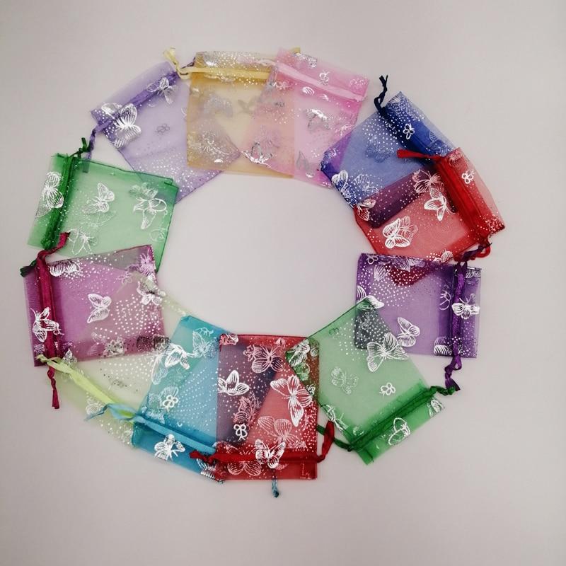 Подарочные пакеты из органзы с бабочками, мешочки для украшений с бабочками 7x9 9x12 11x16 13x18, подарочные пакеты для упаковки ювелирных изделий, 50...
