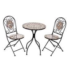 Furniture Patio-Set Outdoor-Seat Bistro Round-Table Garden Design Iron Floral-Pattern