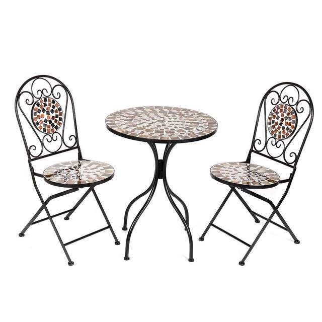 3Pcs/Set Iron Floral Pattern Design Bistro Patio Set Round Table and 2XFoldable Chairs Set Furniture Garden Outdoor Seat 1