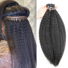 Micro Rings I Tip Human Hair Brazilian Kinky Straight Hair Remy Hair Extensions 14-24Inch 50g/pack 1.5cm Italian Italian PreBond