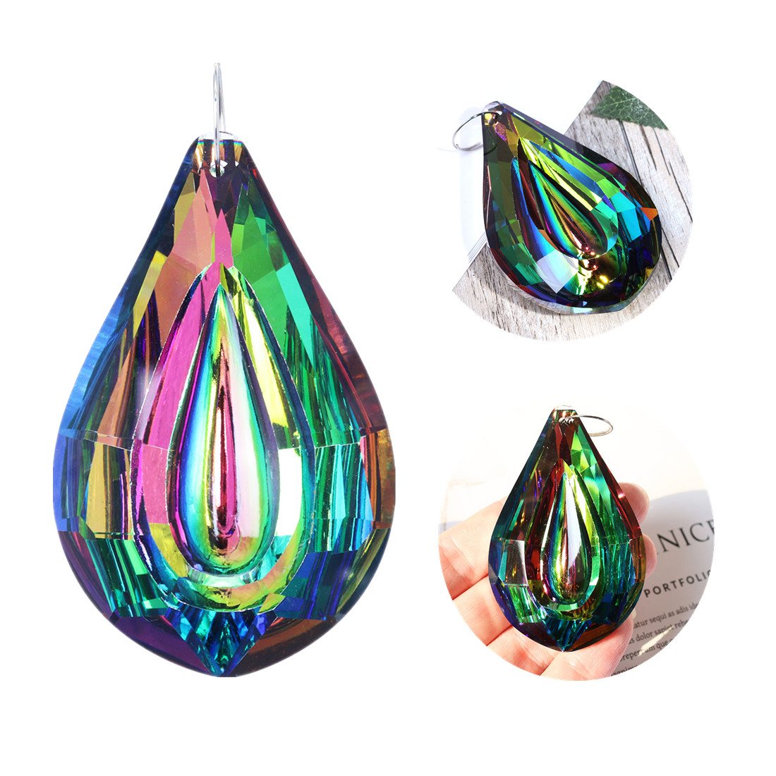 H&D Colorful Lamp Prisms 76mm Loquat Shape Chandelier Crystals Hanging Drops Pendants Home Wedding Decoration DIY Accessories