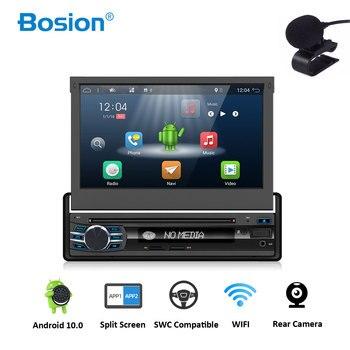 android 10 1din autoradio car radio 7 inch HD GPS DVD Player with Navigation Bluetooth USB free rear camera head unit car stereo