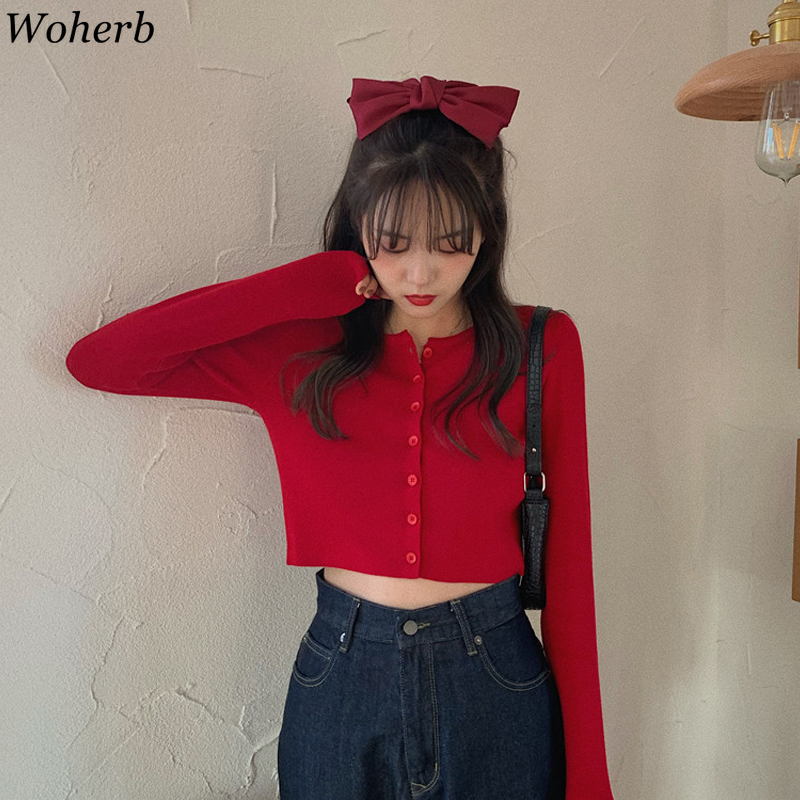 Woherb 2020 Spring New Women Fashion Thin Cardigans Sweaters With Single Breasted Elastic Knitted Crop Tops Korean Solid Jumper