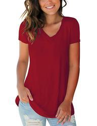 Women's Tops Tie Dye V Neck Summer   Short Sleeve T Shirts Polyester  Cashmere