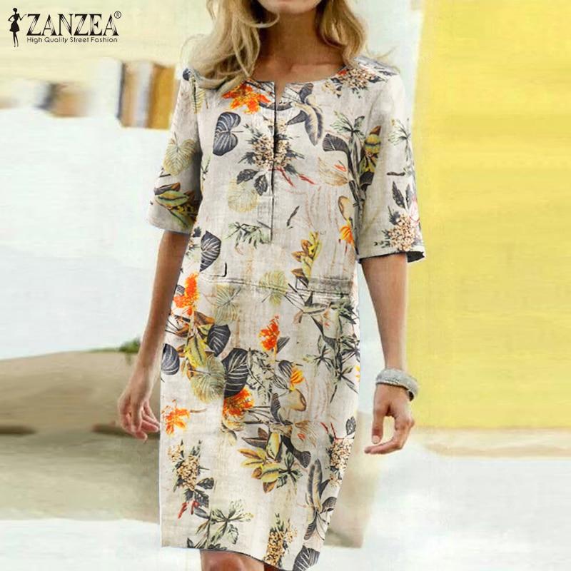 2021 Summer Floral Printed Bohemian Sundress ZANZEA Vintage Cotton Linen Party Short Dress Women Casual Short Sleeve Vestidos 7