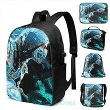 Lustige Grafik druck Sub Zero-Kalt als Eis USB Ladung Rucksack männer Schule taschen Frauen tasche Reise laptop tasche