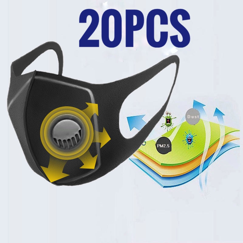 20PCS Dust Mask Filter Anti PM2.5 Air Pollution Mouth Face Mask Winter Anti Dust Carbon Insert Washed Reusable Masks Men Women