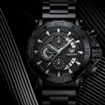 NEKTOM Men's Watches Quartz Watch Waterproof Watches Steel Strap Wristwatch Watches For Men Military Watch Clock Sports Watches 4