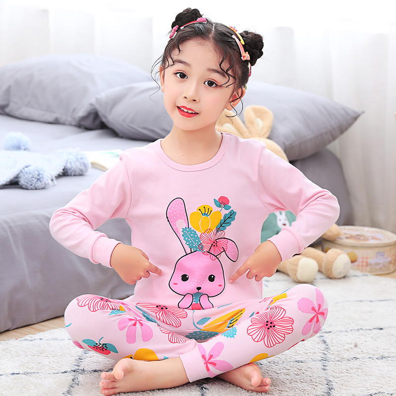 Girls Rabbit Clothes Pajamas Sets Children's Sleepwear Cartoon Cotton Night Suit Tops+pants Pyjamas Kids Girls Boys Clothing Set