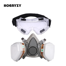 Gas Mask Industrial Half Face Painting Spraying Respirator with Protective Glasses Suit Safety Work Filter Replace 3M 6200