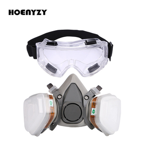 Image 1 - Gas Mask Industrial Half Face Painting Spraying Respirator with Protective Glasses Suit Safety Work Filter Replace 3M 6200