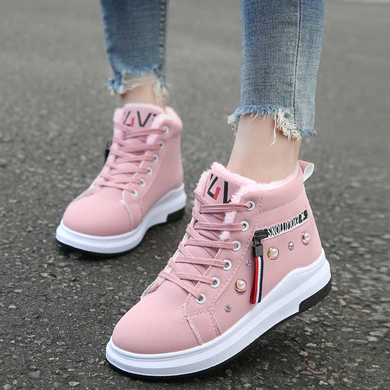 สีชมพูฤดูหนาวรองเท้าผู้หญิงข้อเท้ารองเท้า WARM PU Plush ฤดูหนาวรองเท้าผู้หญิงรองเท้าผ้าใบรองเท้า Lace Up Casual รองเท้าผู้หญิงสั้น snow BOOTS
