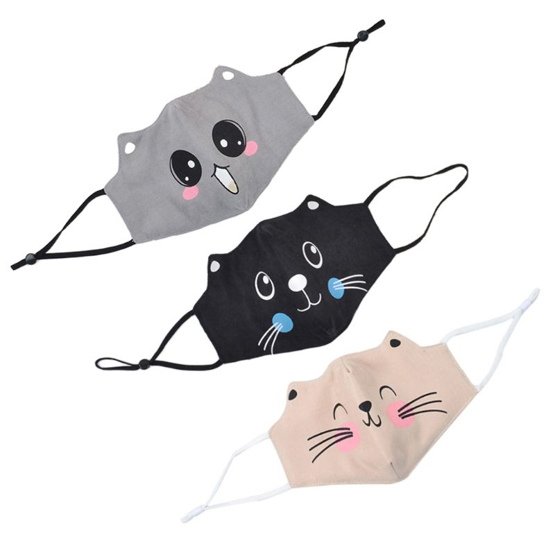 Kids Sweet Cartoon Cat Ears Dustproof Face Mask  Pollution Cotton Washable Breathable  3D Mouth Cover