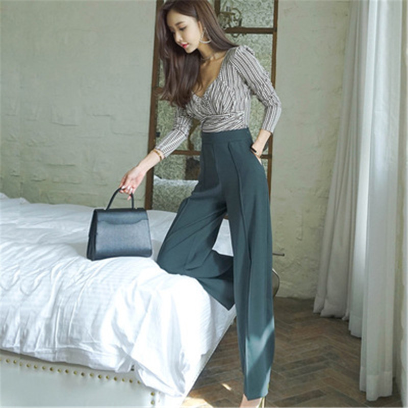 Set 2019 autumn winter new Korean style long sleeved v neck top two pieces of wide leg trousers for women with waist in Women 39 s Sets from Women 39 s Clothing