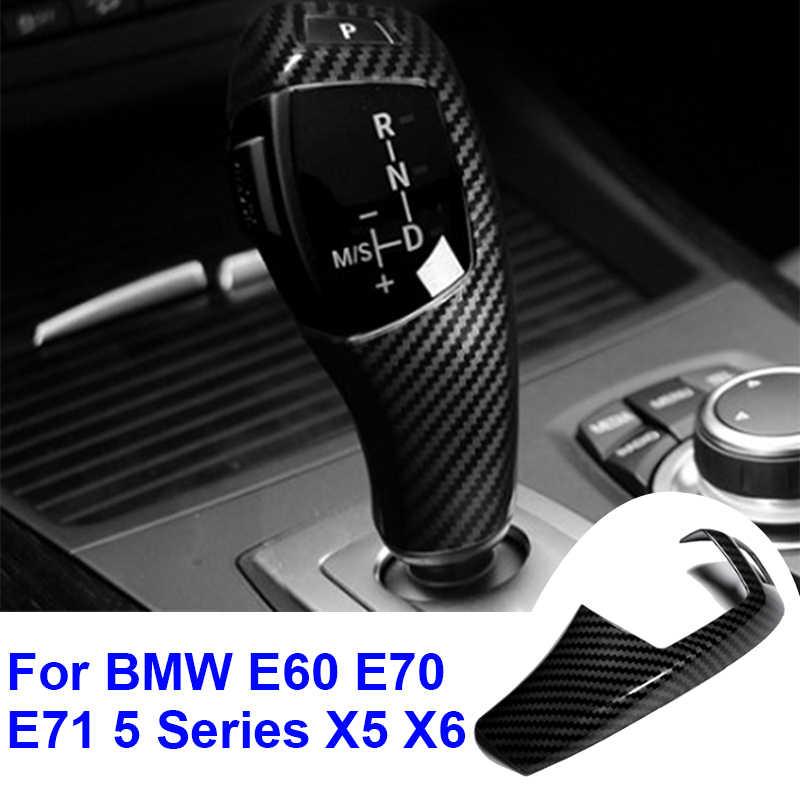 1pc ABS fibre de carbone pommeau de levier de vitesse garniture de voiture style pour BMW E60 E70 E71 5 série X5 X6 LHD pommeau de levier de vitesse couvercle
