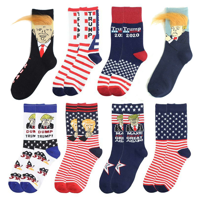 COCOCAT Novelty Donald Trump Socks Men Funny Hair American Flag Pattern