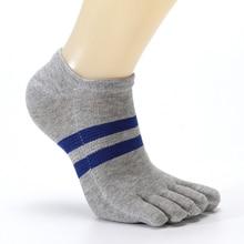 Men Socks Cotton Ankle Five Toe Breathable Soft Comfortable Fashion Double Stripe Boys Fingers