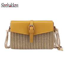 Small women bag PU+ straw woven small square sling yellow over shoulder slung beach shopping