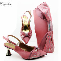 Amazing spring/autumn design high heel pointed toe sandal shoes and bag set for wedding MM1099 in pink, heel height 7cm