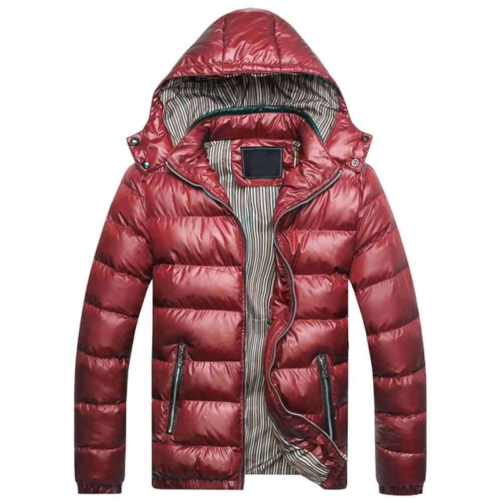 冬のジャケットの男性ファッションフード付き男性ジャケットメンズ無地厚手のジャケット冬のパーカーフードぬくもりダウンジャケット