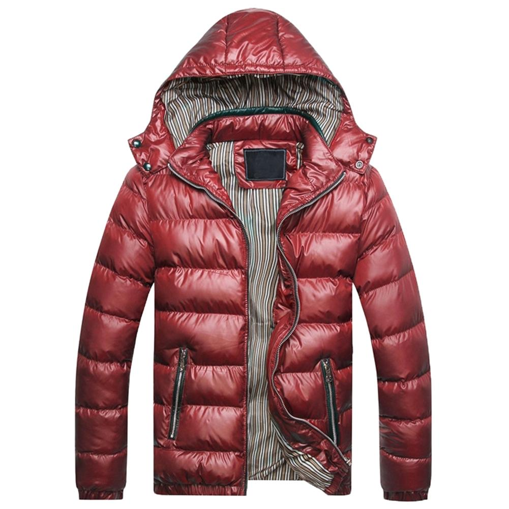 Winter Jacket Men Fashion Hooded Male  Jacket Mens Solid Color Thick Jackets Coats Winter Parkas Hooded For Warmth Down Jackets