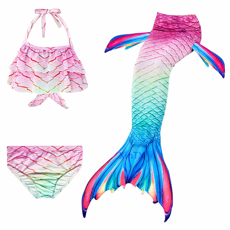 H27549e1cce0d47efbb89f143e1475432A - 4PCS/Set HOT Kids Girls Mermaid Tails with Fin Swimsuit Bikini Bathing Suit Dress for Girls With Flipper Monofin For Swim