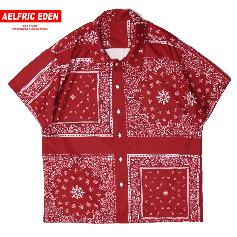 Aelfric Eden Cashew Flowers Print Men Hawaii Shirt 2020 Summer Beach Short Sleeve Turn-down Collar Tops Casual Streetwear Shirts