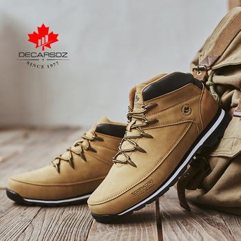 DECARSDZ męskie buty w stylu Casual 2020 jesienne zimowe wygodne sznurowane skórzane męskie buty męskie modne buty męskie marki klasyczne męskie buty tanie i dobre opinie Podstawowe CN (pochodzenie) ANKLE Stałe Dla dorosłych Płótno Okrągły nosek Wiosna jesień Niska (1 cm-3 cm) DK-B-04