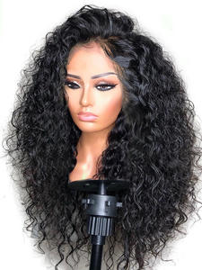 LUFFY Wig Human-Hair Curly Bleached Knots Lace-Front 180density-Glueless Preplucked Women