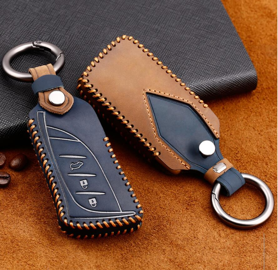 Car Genuine Leather Key Case Cover Chain For Lexus 2016 2017 2018 2019 IS ES GS NX RX LX GS GX Remote Keyless Accessorie
