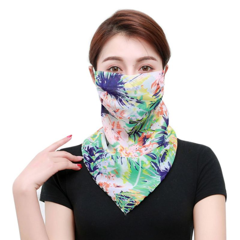 Print Face Scarf Sun Protection Triangle Silk Scarf Neck Female Summer Hanging Ear Scarf Thin Section Sun Protection Scarf